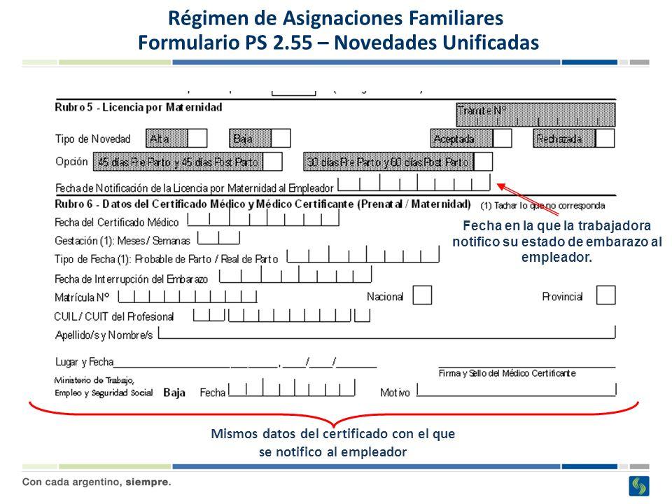 Mismos datos del certificado con el que se notifico al empleador