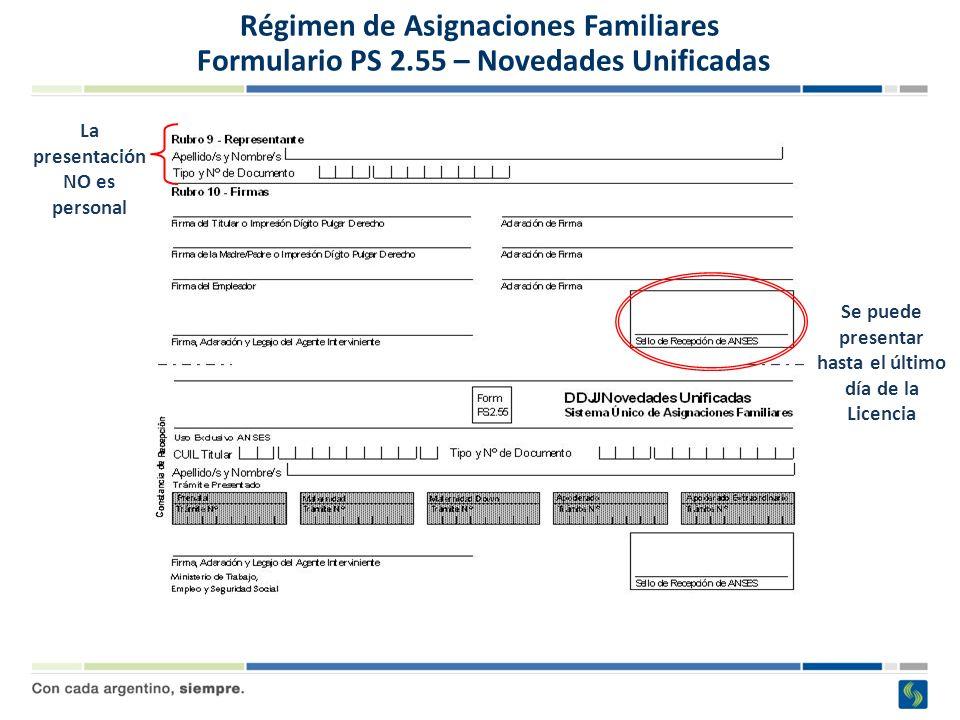 Régimen de Asignaciones Familiares Formulario PS 2