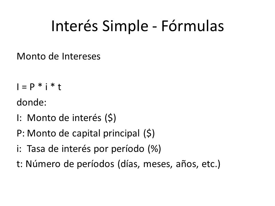 Interés Simple - Fórmulas