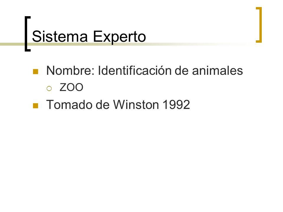 Sistema Experto Nombre: Identificación de animales