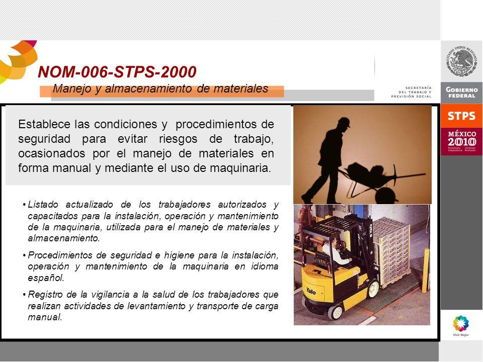 NOM-006-STPS-2000 Manejo y almacenamiento de materiales