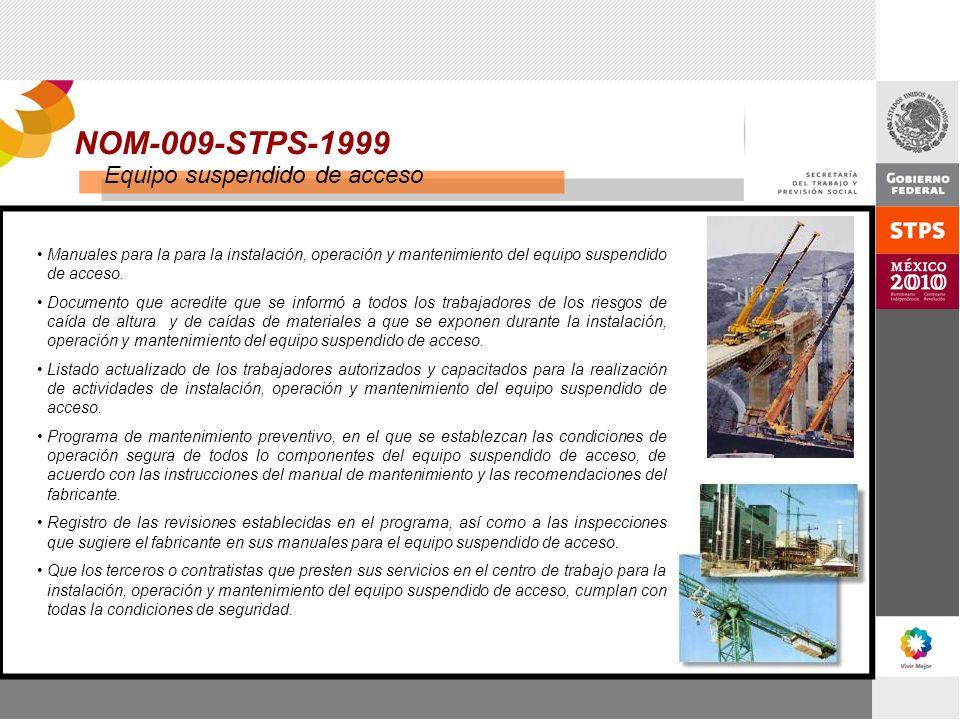 NOM-009-STPS-1999 Equipo suspendido de acceso