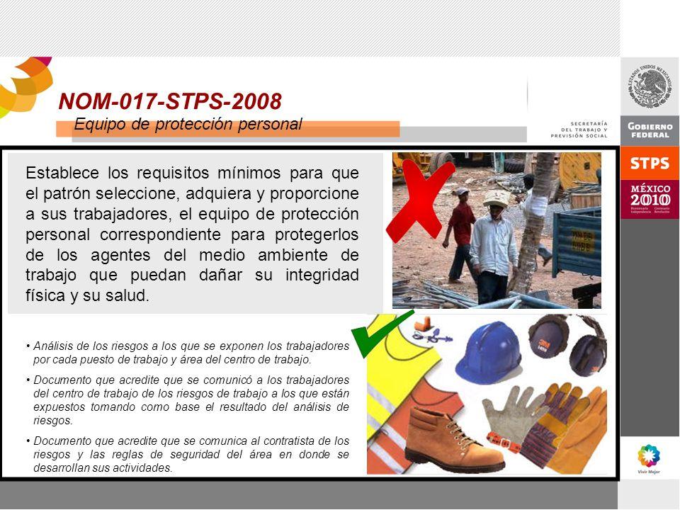NOM-017-STPS-2008 Equipo de protección personal