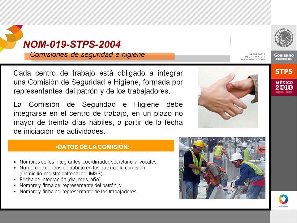 NOM-019-STPS-2004 Comisiones de seguridad e higiene