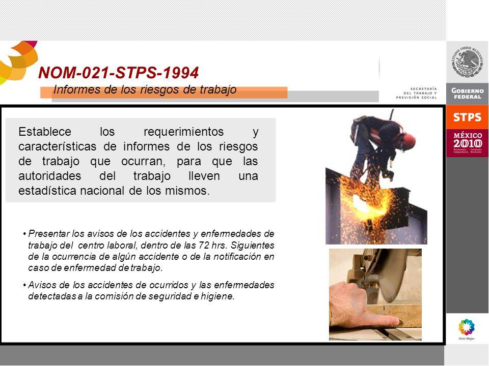 NOM-021-STPS-1994 Informes de los riesgos de trabajo
