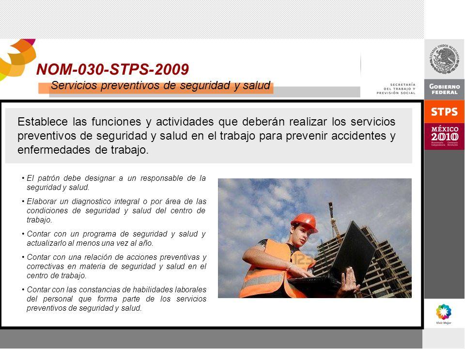 NOM-030-STPS-2009 Servicios preventivos de seguridad y salud