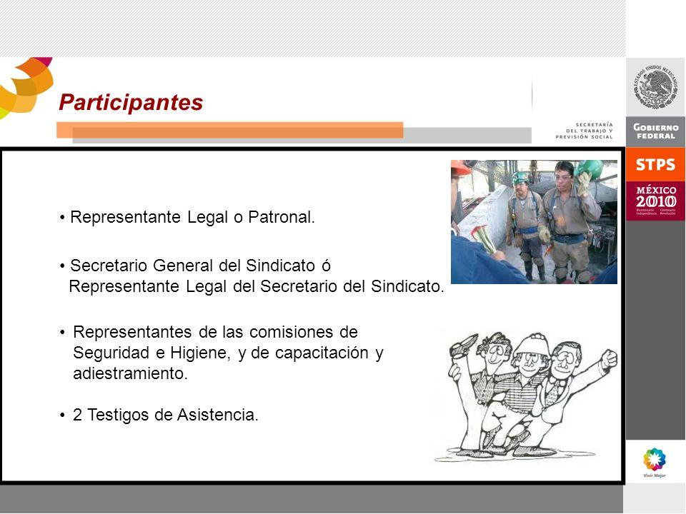 Participantes Representante Legal o Patronal.