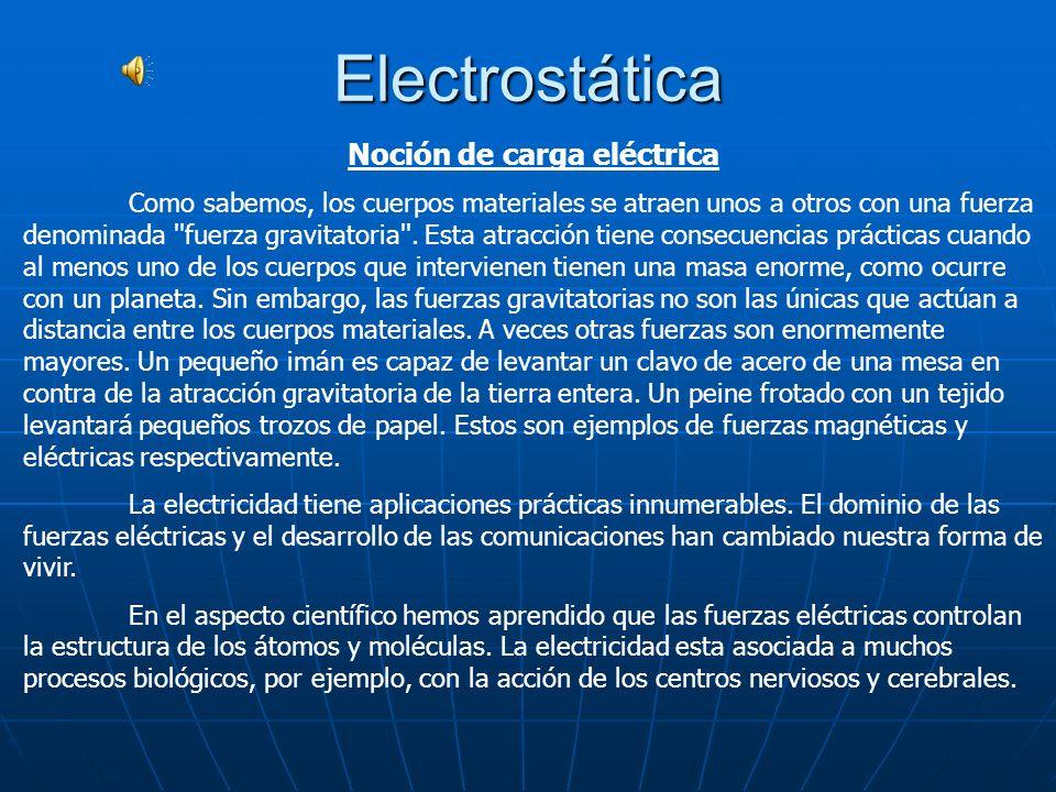 Noción de carga eléctrica