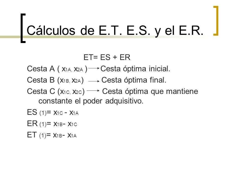 Cálculos de E.T. E.S. y el E.R. ET= ES + ER