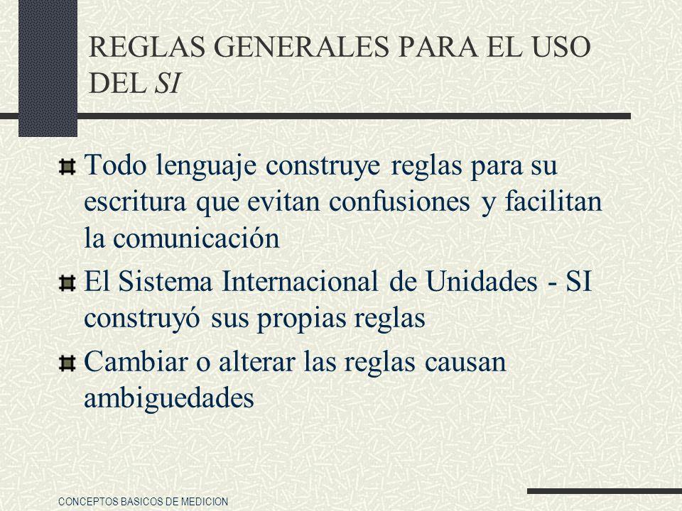REGLAS GENERALES PARA EL USO DEL SI
