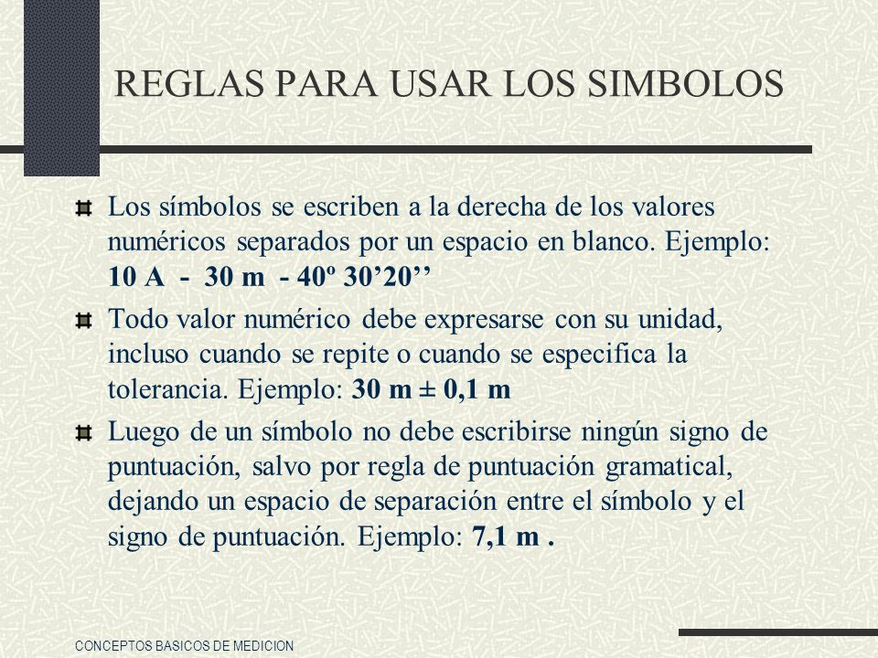 REGLAS PARA USAR LOS SIMBOLOS
