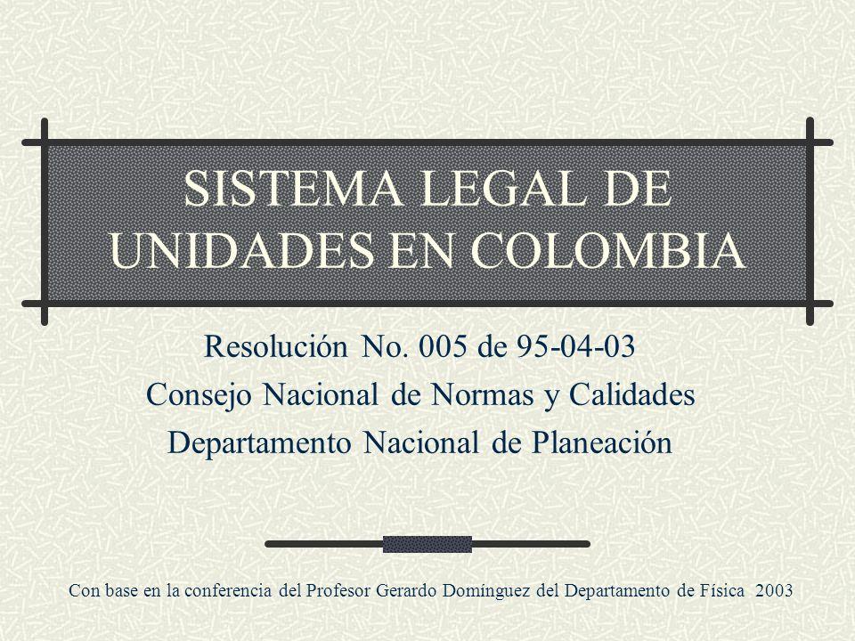 SISTEMA LEGAL DE UNIDADES EN COLOMBIA
