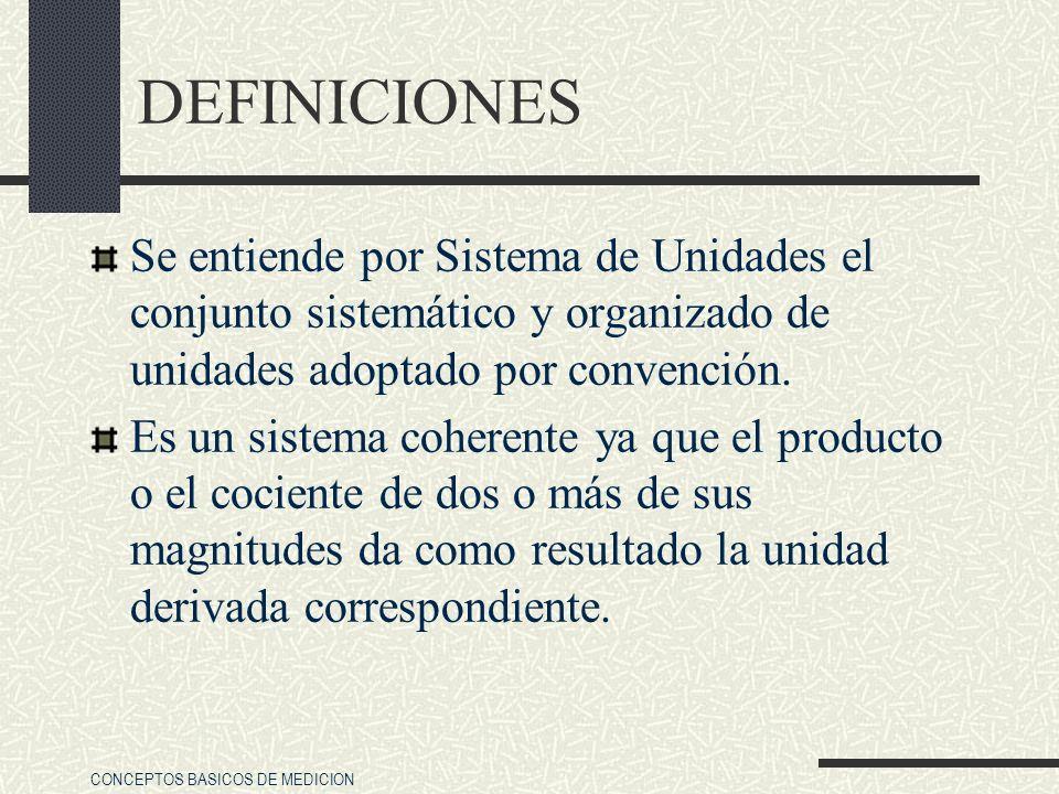 DEFINICIONES Se entiende por Sistema de Unidades el conjunto sistemático y organizado de unidades adoptado por convención.