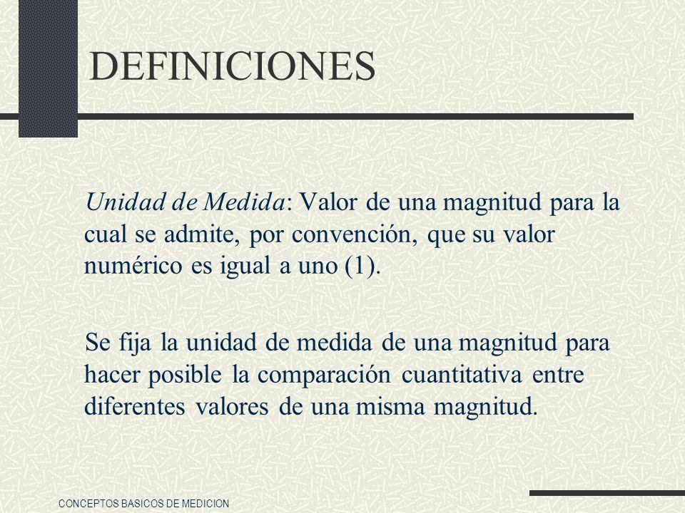 DEFINICIONES Unidad de Medida: Valor de una magnitud para la cual se admite, por convención, que su valor numérico es igual a uno (1).