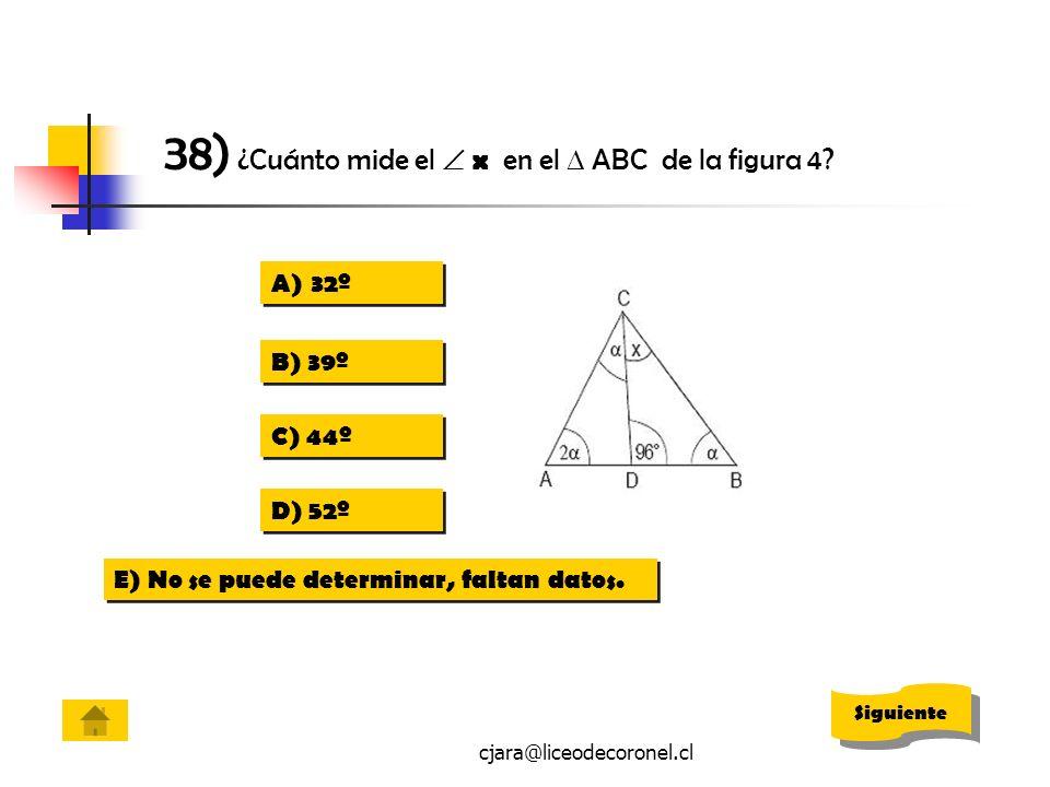 38) ¿Cuánto mide el  x en el  ABC de la figura 4
