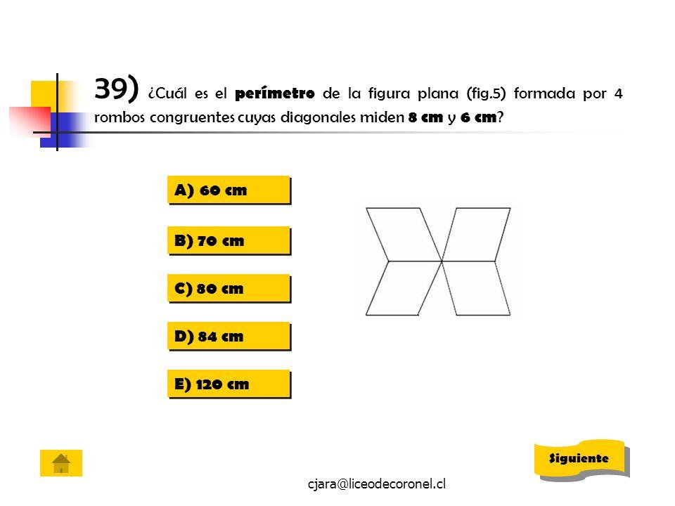 39) ¿Cuál es el perímetro de la figura plana (fig