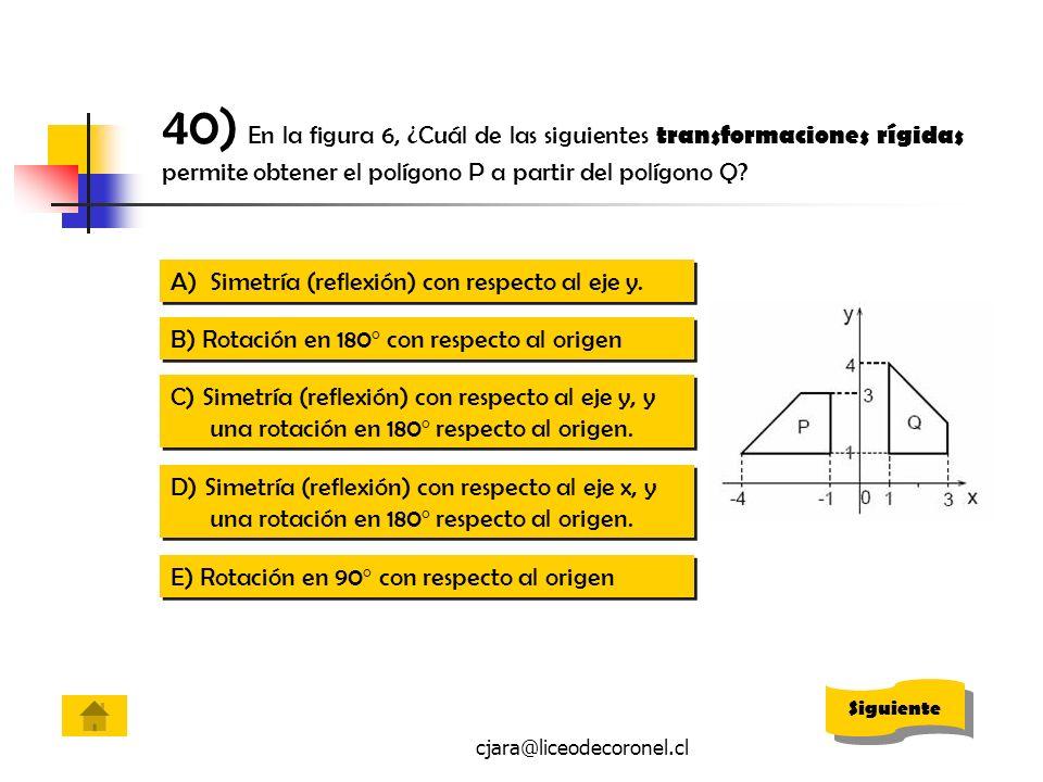 40) En la figura 6, ¿Cuál de las siguientes transformaciones rígidas permite obtener el polígono P a partir del polígono Q