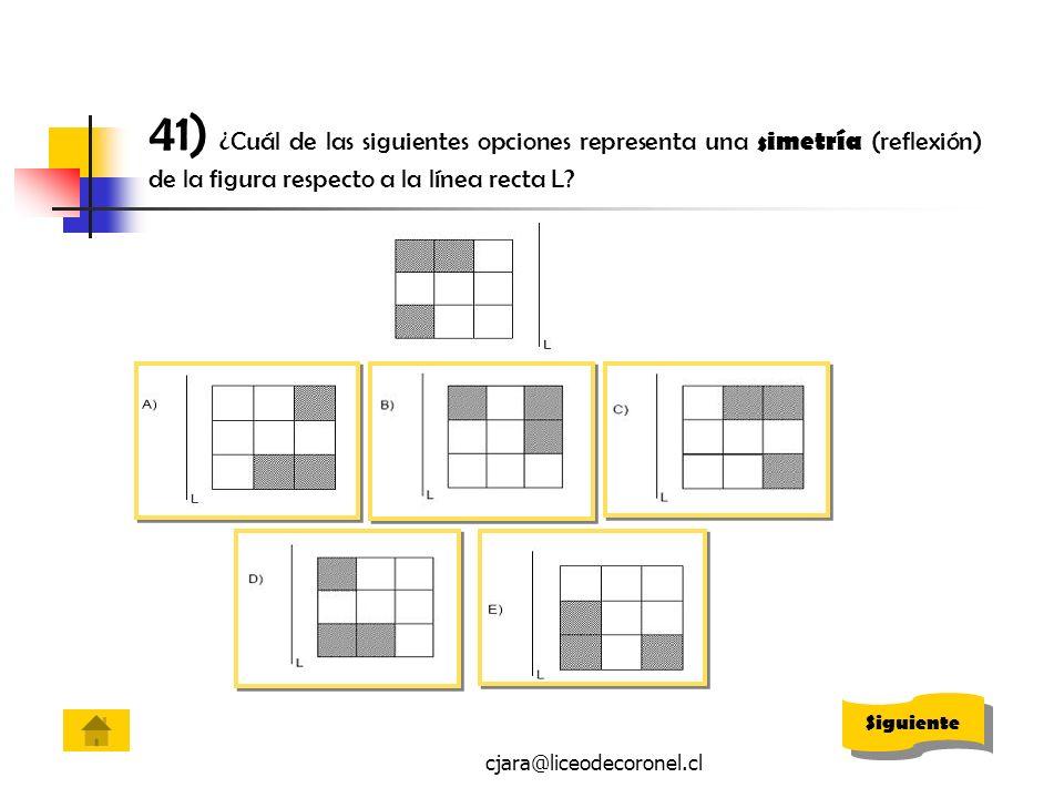 41) ¿Cuál de las siguientes opciones representa una simetría (reflexión) de la figura respecto a la línea recta L