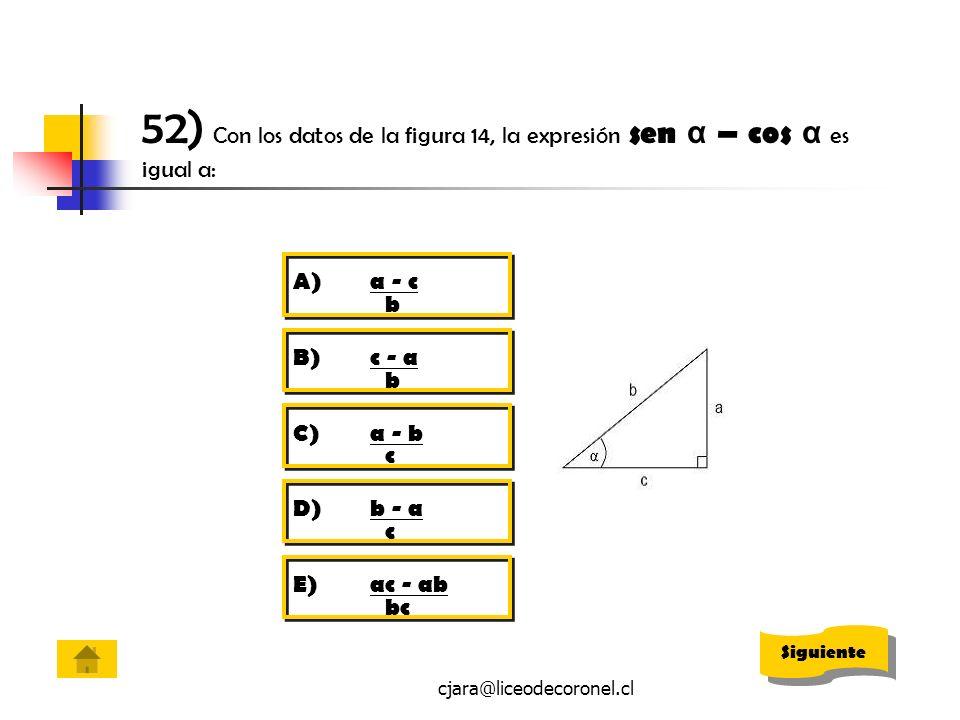 52) Con los datos de la figura 14, la expresión sen α – cos α es igual a: