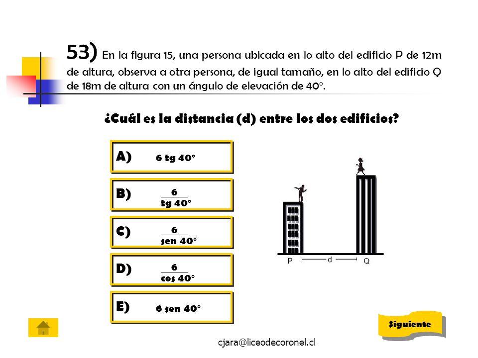53) En la figura 15, una persona ubicada en lo alto del edificio P de 12m de altura, observa a otra persona, de igual tamaño, en lo alto del edificio Q de 18m de altura con un ángulo de elevación de 40º.