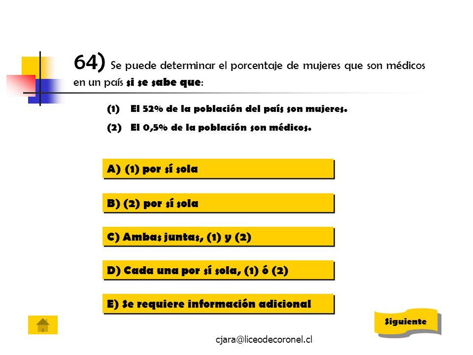 64) Se puede determinar el porcentaje de mujeres que son médicos en un país si se sabe que: