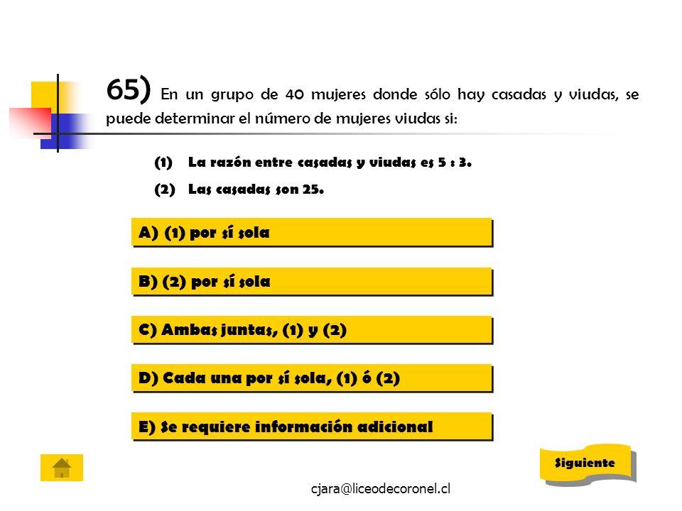 65) En un grupo de 40 mujeres donde sólo hay casadas y viudas, se puede determinar el número de mujeres viudas si: