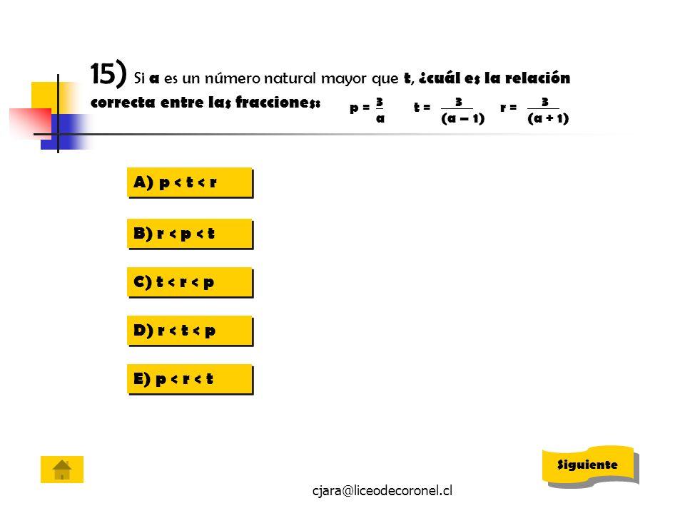 15) Si a es un número natural mayor que t, ¿cuál es la relación correcta entre las fracciones: