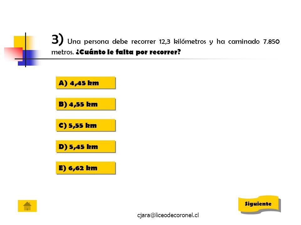 3) Una persona debe recorrer 12,3 kilómetros y ha caminado 7