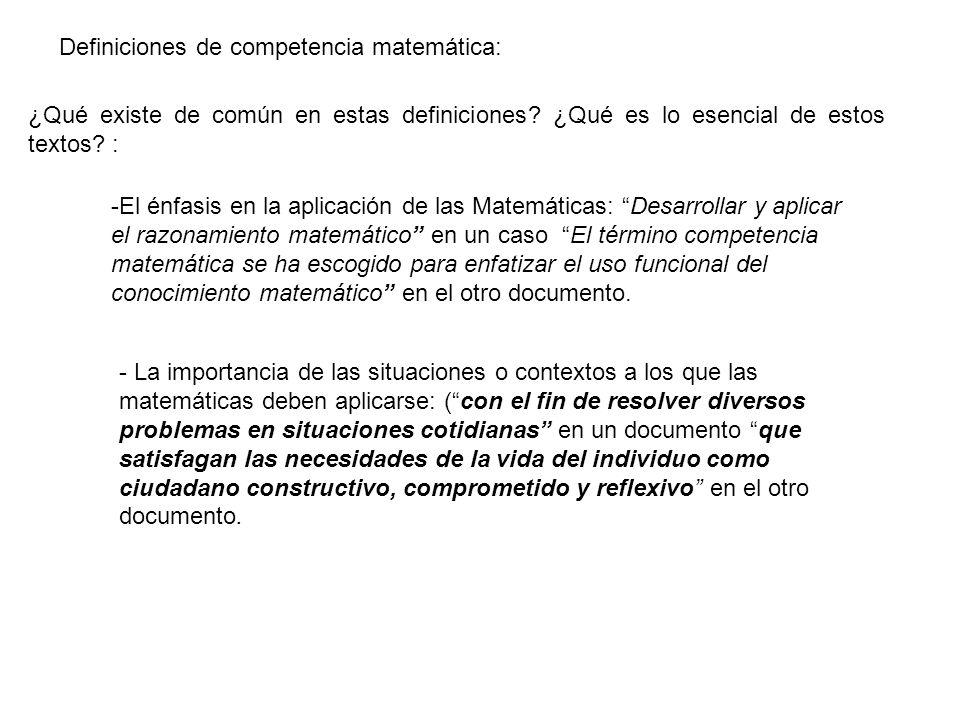 Definiciones de competencia matemática: