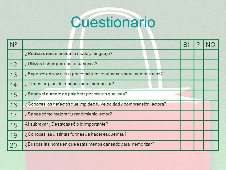 Cuestionario Nº. SI. NO. 11. ¿Realizas resúmenes a tu modo y lenguaje 12. ¿Utilizas fichas para los resúmenes