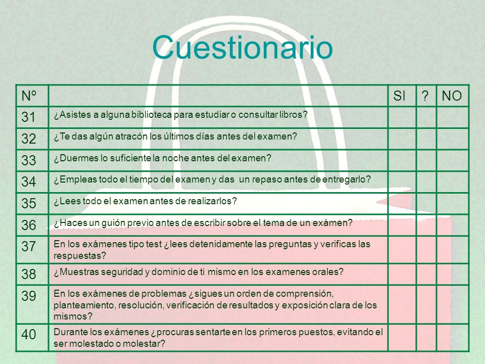 Cuestionario Nº. SI. NO. 31. ¿Asistes a alguna biblioteca para estudiar o consultar libros 32.