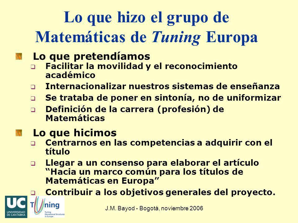 Lo que hizo el grupo de Matemáticas de Tuning Europa