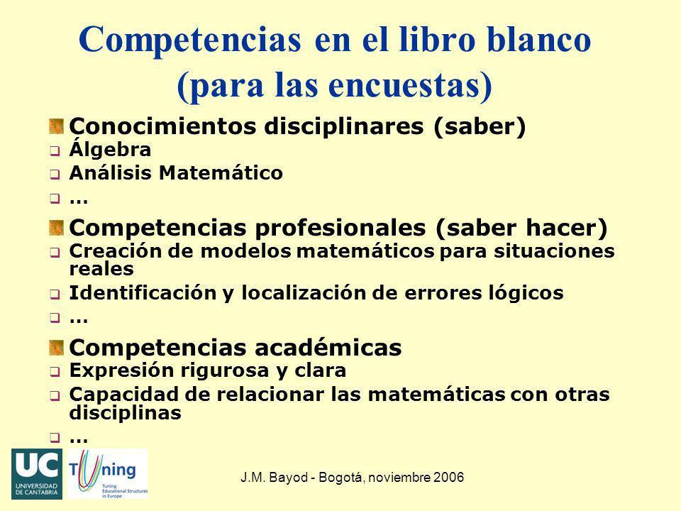Competencias en el libro blanco (para las encuestas)