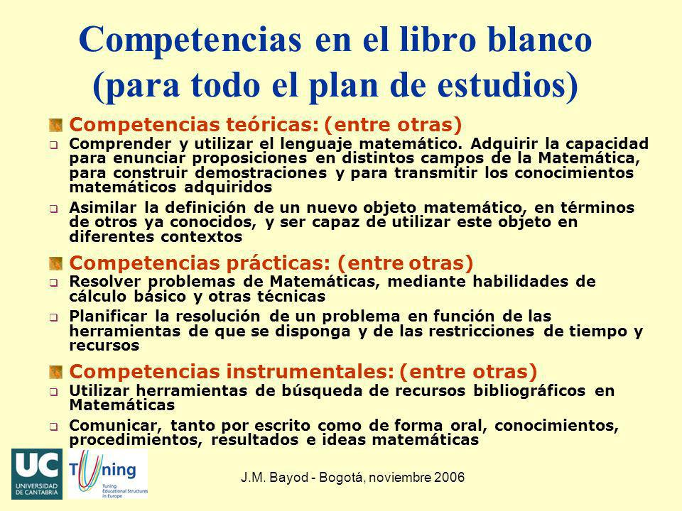 Competencias en el libro blanco (para todo el plan de estudios)