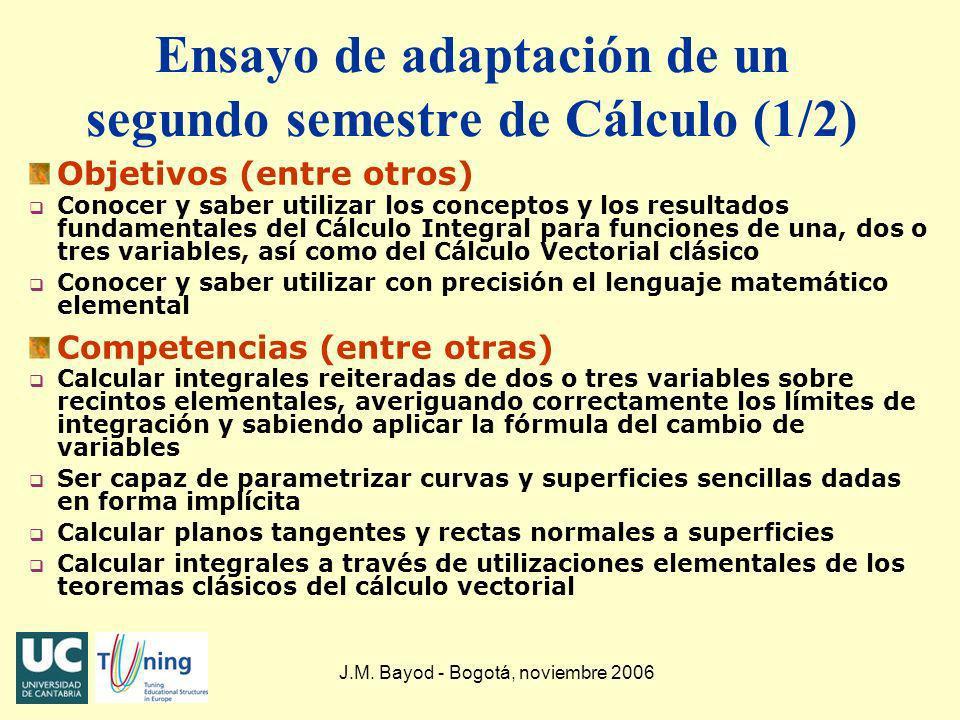 Ensayo de adaptación de un segundo semestre de Cálculo (1/2)