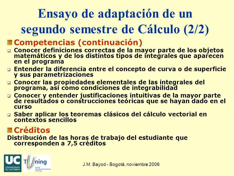 Ensayo de adaptación de un segundo semestre de Cálculo (2/2)
