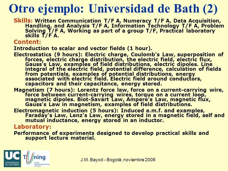 Otro ejemplo: Universidad de Bath (2)