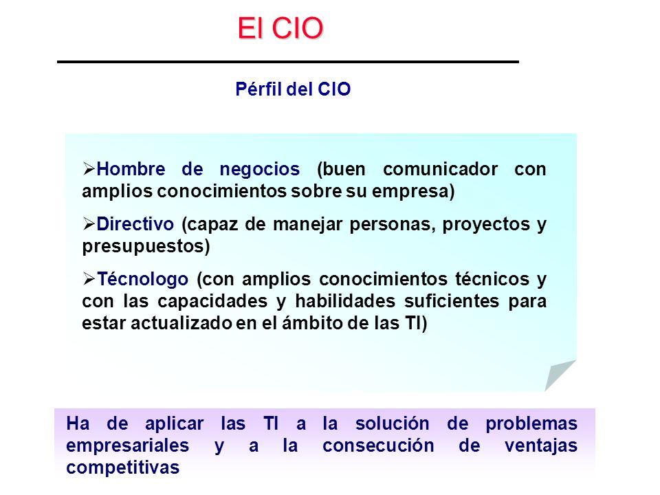 El CIO Pérfil del CIO. Hombre de negocios (buen comunicador con amplios conocimientos sobre su empresa)