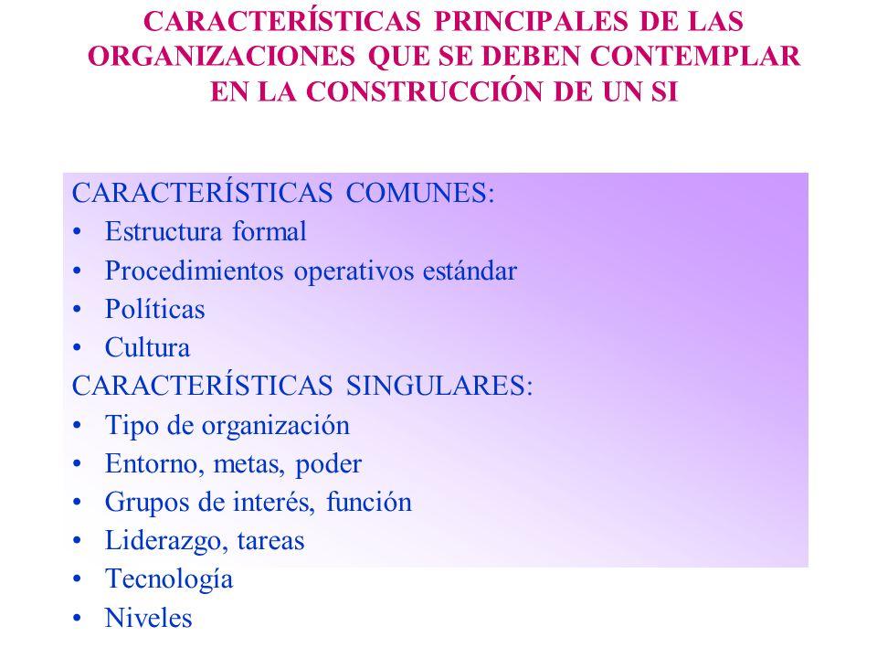 CARACTERÍSTICAS PRINCIPALES DE LAS ORGANIZACIONES QUE SE DEBEN CONTEMPLAR EN LA CONSTRUCCIÓN DE UN SI