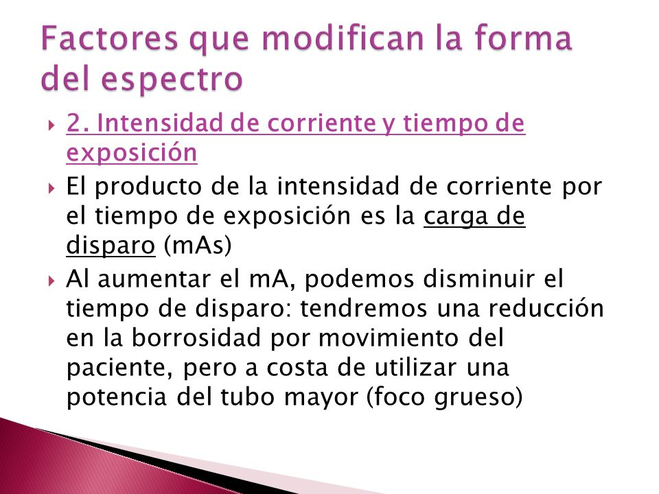 Factores que modifican la forma del espectro