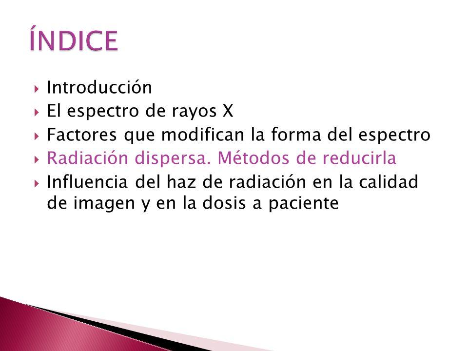 ÍNDICE Introducción El espectro de rayos X