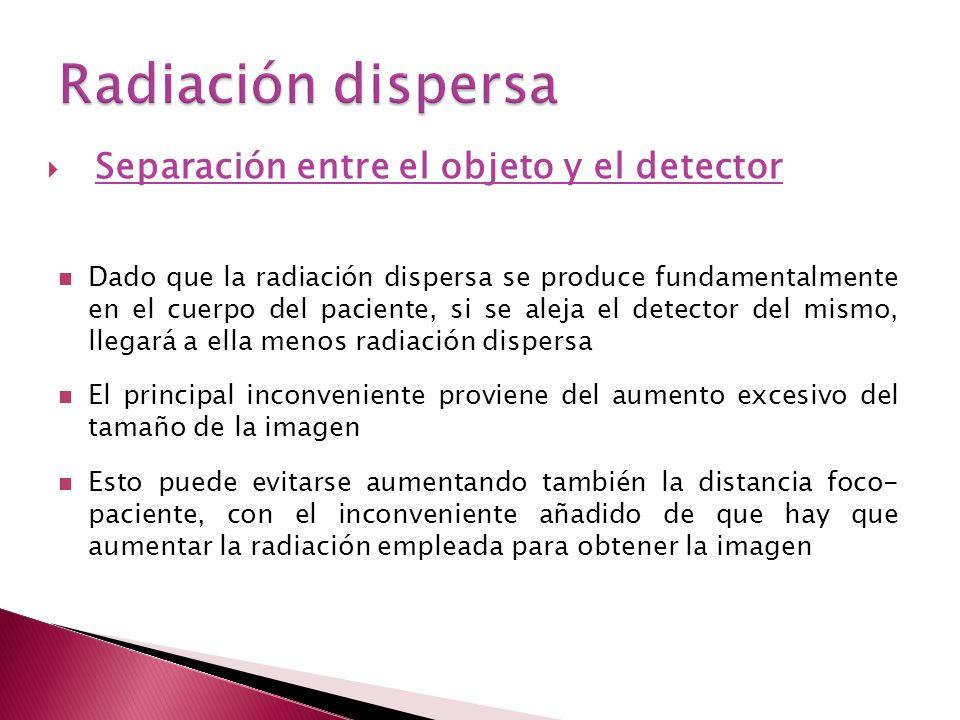 Radiación dispersa Separación entre el objeto y el detector