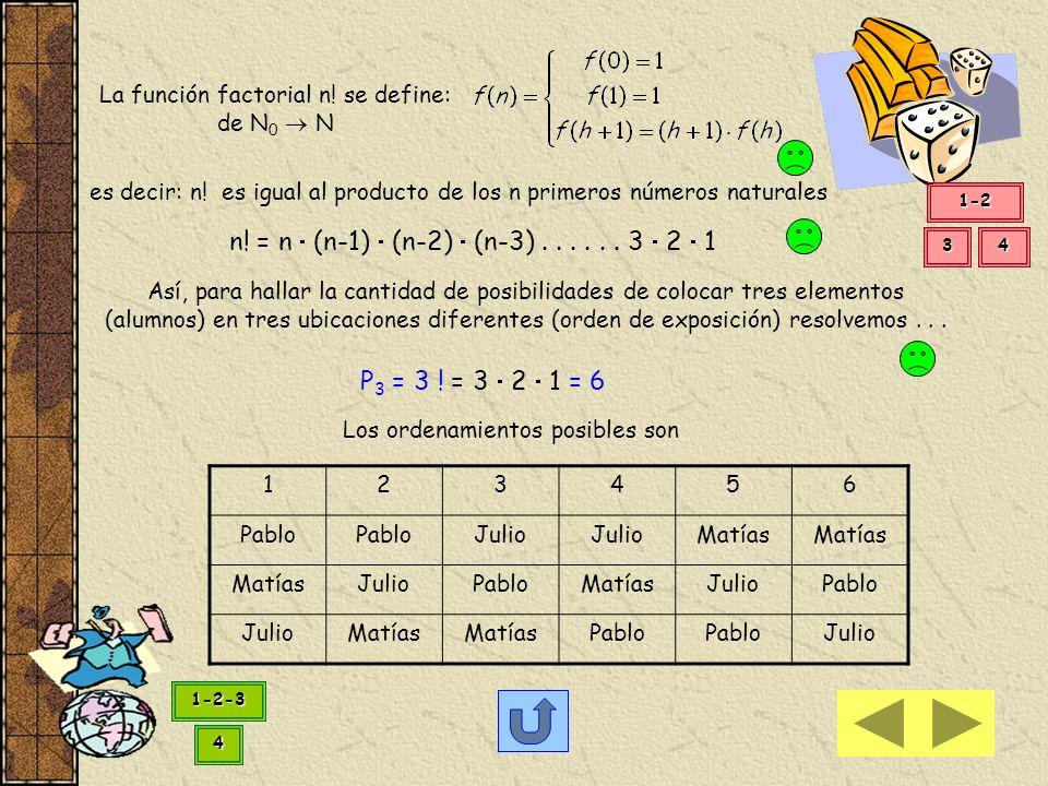 La función factorial n! se define: de N0  N