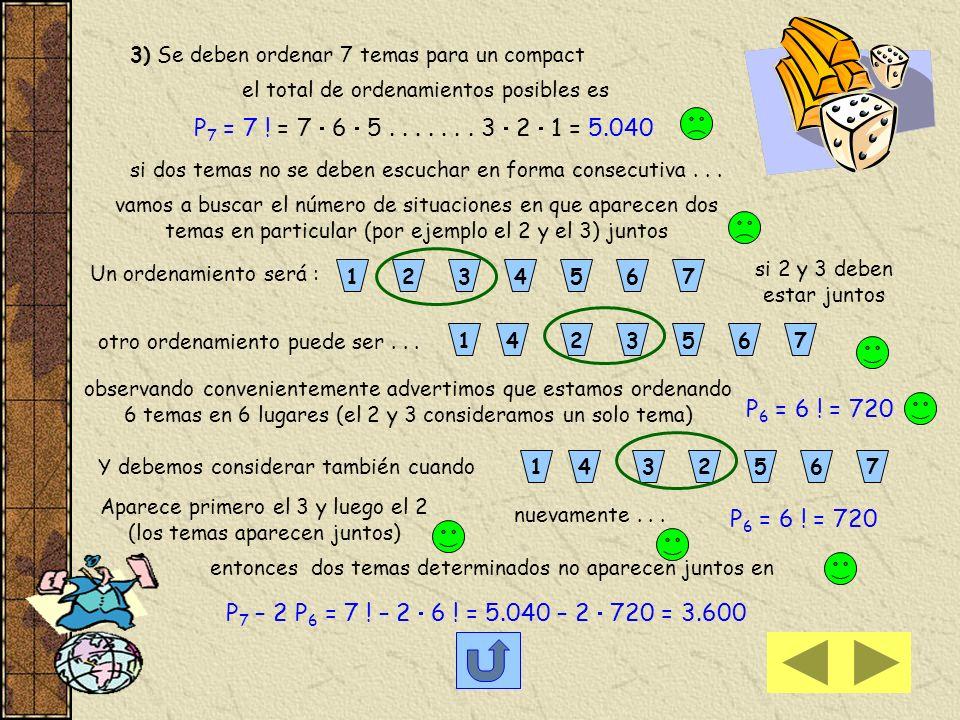 3) Se deben ordenar 7 temas para un compact