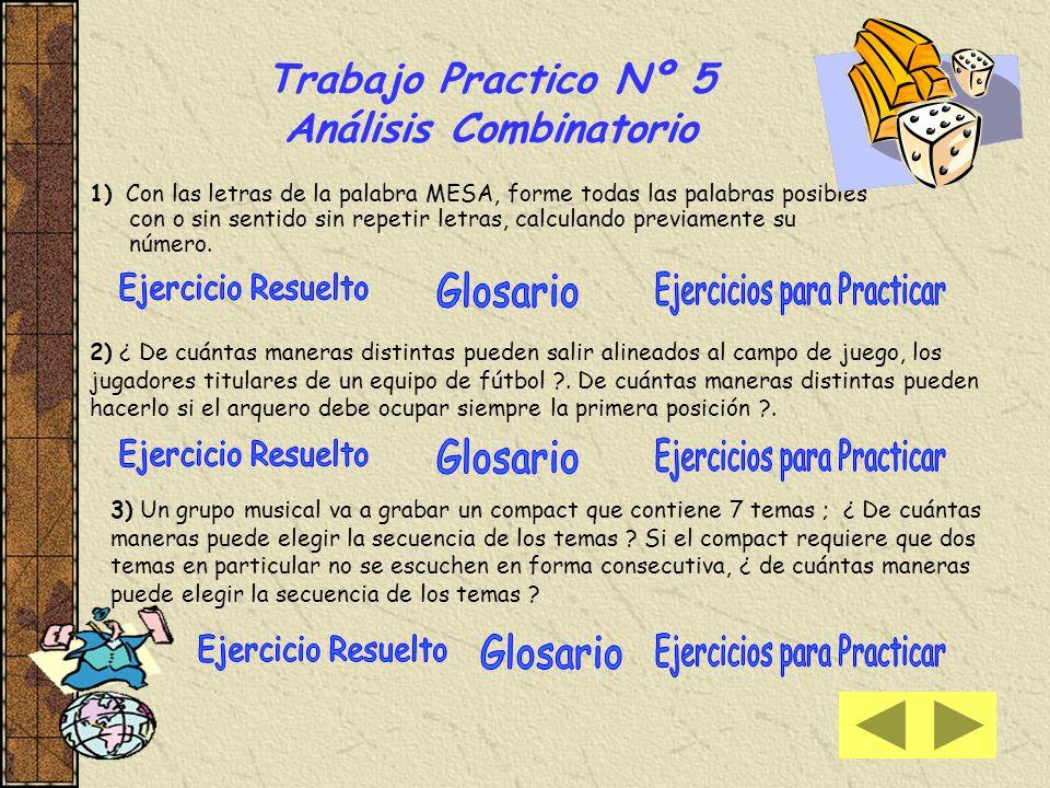 Trabajo Practico Nº 5 Análisis Combinatorio