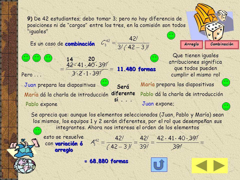 14 20 11.480 formas Será diferente si . . . = 68.880 formas