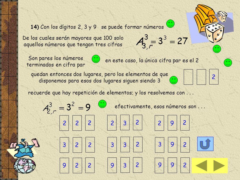 14) Con los dígitos 2, 3 y 9 se puede formar números