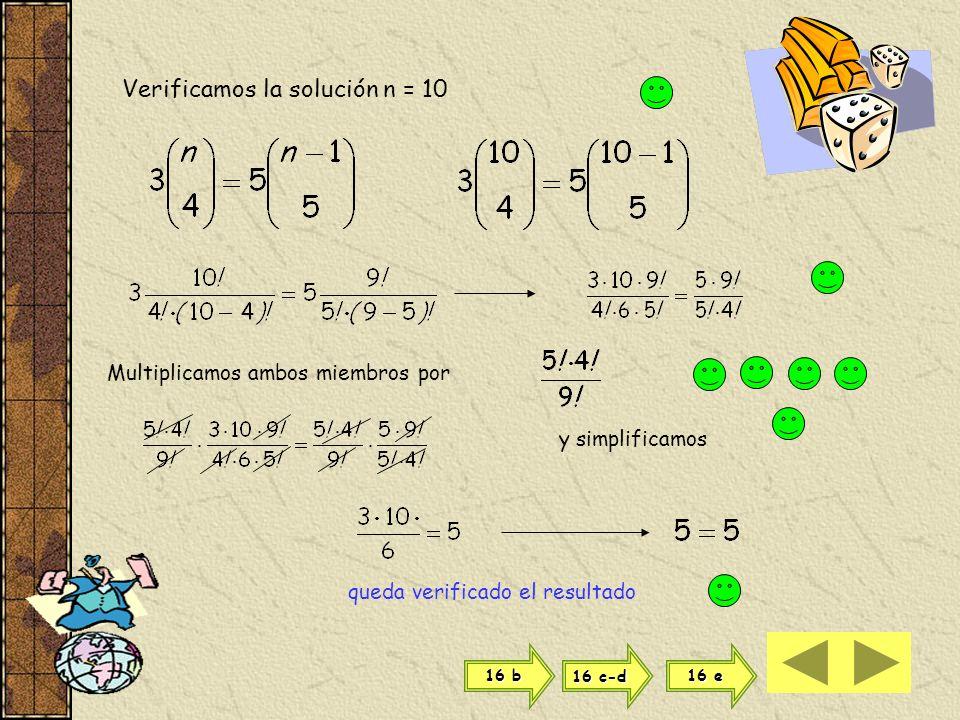 Verificamos la solución n = 10