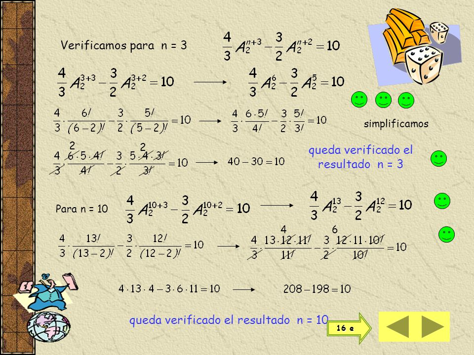 queda verificado el resultado n = 3