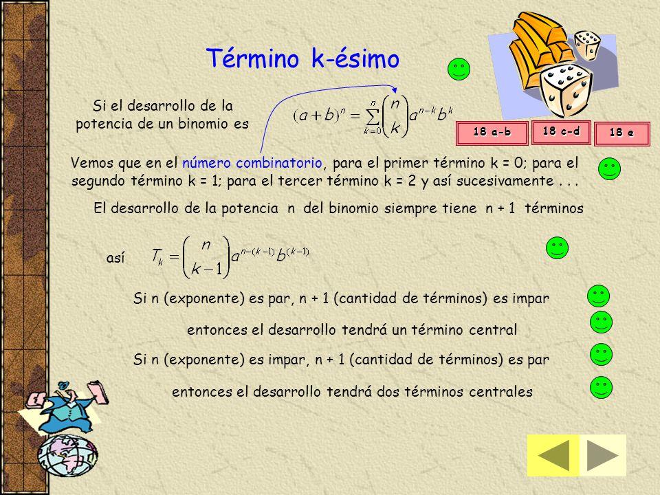 Término k-ésimo Si el desarrollo de la potencia de un binomio es